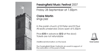 Fressingfield Music Festival Jazz ticket 2007