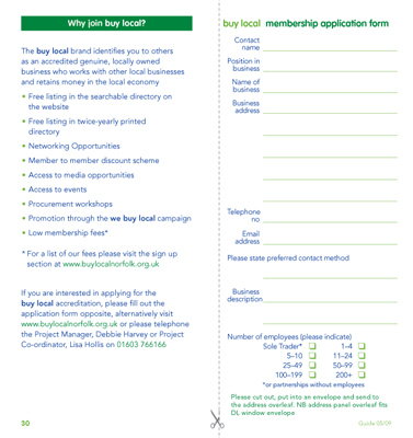Buy Local Business Guide membership form